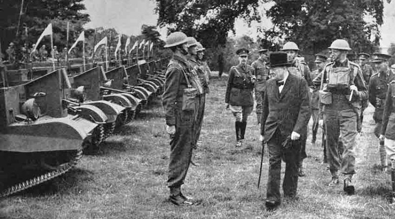 Winston Churchill inspects a unit of the Grenadier Guards equipped with Bren Gun Carriers. He spent much time travelling around every part of the country visiting all types of military unit.